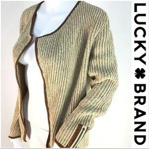 Lucky Vegan Leather Trim Open Sweater